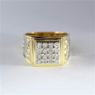 14 K / 585 Yellow Gold Men's Diamond Ring