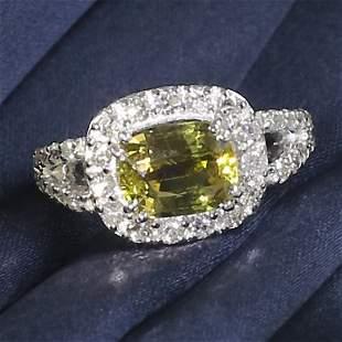 14 K White Gold ALEXANDRITE (GIA Cert.) & Diamond Ring