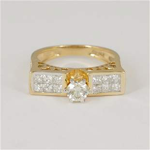 14 K / 585 Yellow Gold Solitaire Diamond Ring