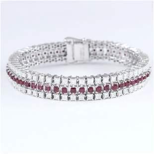 14K White Gold 3 Line Rubies & Diamonds Tennis Bracelet