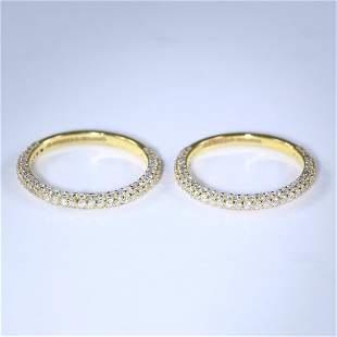 14 K / 585 Set of 2 Yellow Gold Diamond Band Rings