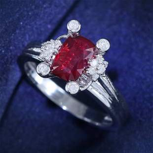 14 K / 585 White Gold GIA Certified Ruby & Diamond Ring