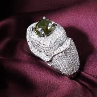 14 K / 585 White Gold Alexandrite (GRS) & Diamond Ring