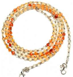 32 ct. Natural Fire Opal Coin Shape Beads Necklace