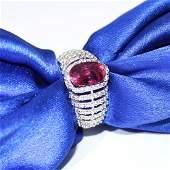 14 K / 585 White Gold Ruby (GIA Cert.) & Diamond Ring