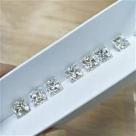 Set of 7 - 0.21 ct. Princess cut Diamonds - UNTREATED