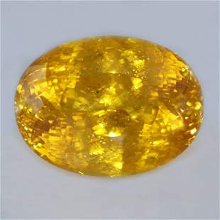 GIA Cert. 52.90 ct. Untreated Yellowish Orange Sapphire