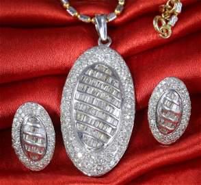 14 K White Gold Diamond Pendant Necklace & Earrings