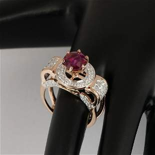 14 K Rose Gold Ruby (GIA Cert.) & Diamond Ring