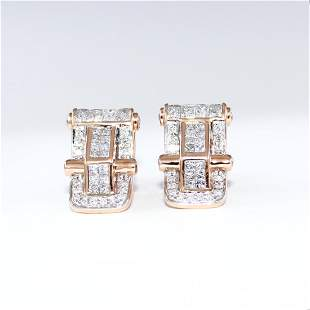 IGI Certified 14 K / 585 Rose Gold Diamond Earrings