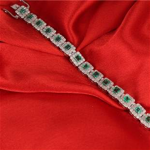 14 K White Gold Colombian Emerald & Diamond Bracelet