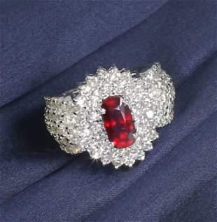 14 K / 585 White Gold Ruby (Lotus Cert.) & Diamond Ring