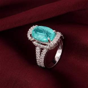 14 K White Gold PARAIBA Tourmaline (GIA) & Diamond Ring