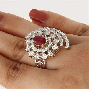 14 K White & Rose Gold Ruby (GIA Cert.) & Diamond Ring