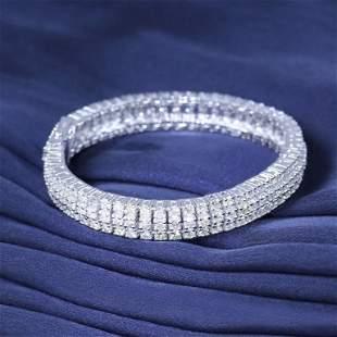 14 K White Gold 3 Line Tennis Bracelet with Diamonds