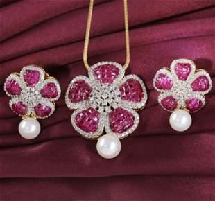 14 K Yellow Gold Ruby & Diamond Earrings with Pendant