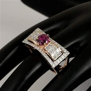 14 K Rose Gold Designer Ruby (GIA Cert.) & Diamond Ring