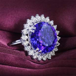 14 K White Gold Designer Tanzanite (GIA) & Diamond Ring
