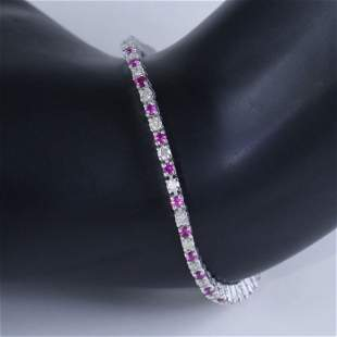 14 K White Gold Tennis Bracelet with Diamonds & Rubies