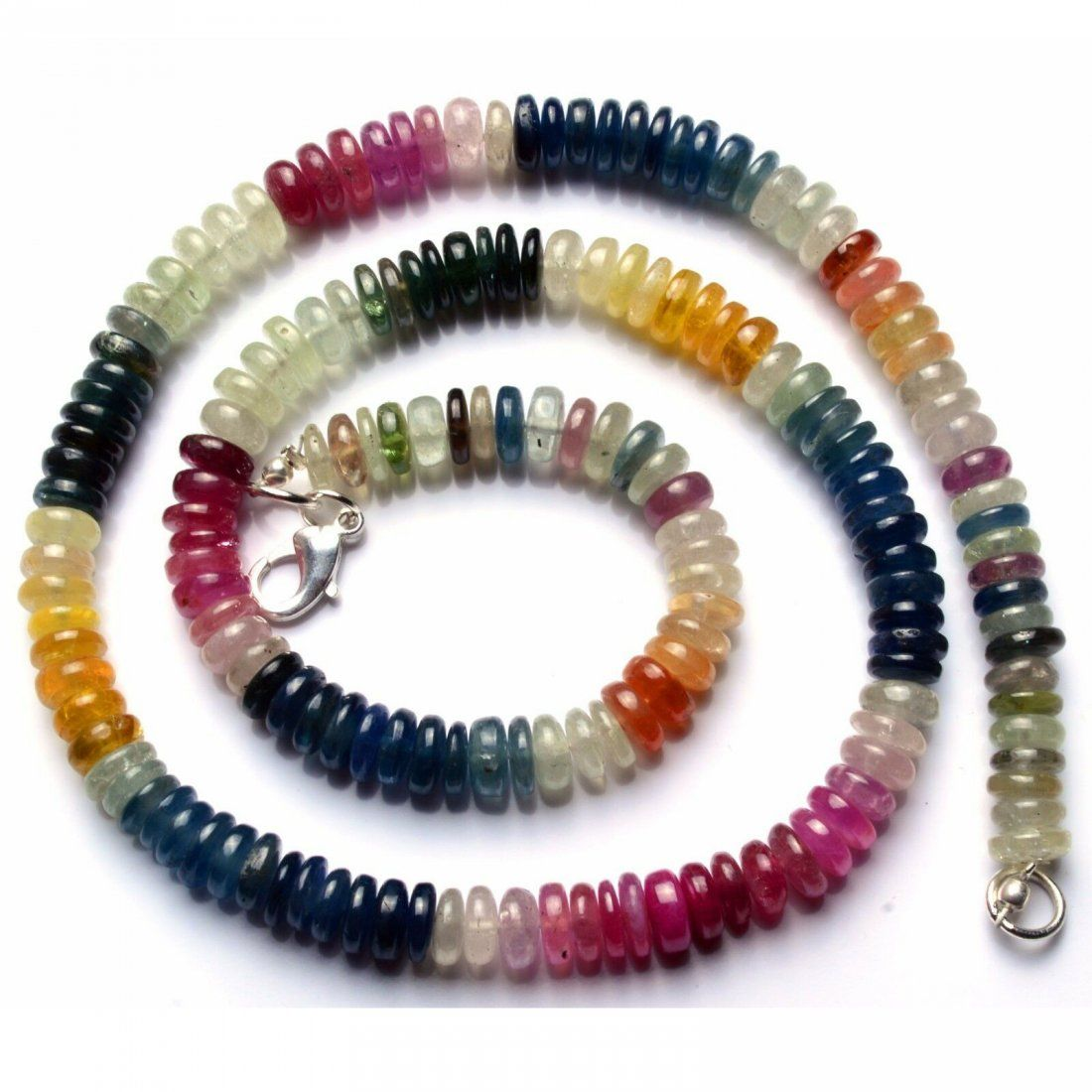 216.00 ct. Natural Multi Color Sapphire Beads Necklace