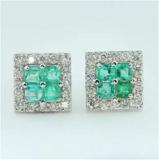 14 K White Gold IGI Cert. Diamond & Emerald Earrings