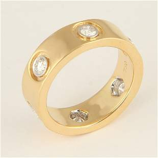 18K Yellow Gold CARTIER Style Eternity Diamond Ring