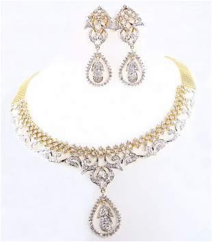 14 K Yellow Gold IGI Cert. Diamond Necklace & Earrings
