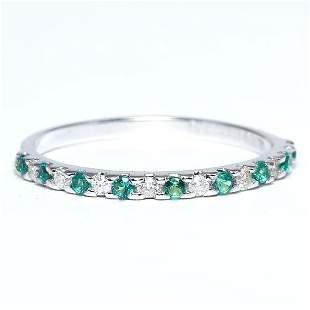 14 K / 585 White Gold Diamond and Emerald Band Ring Set
