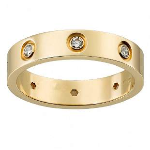 18 K / 750 Yellow Gold Cartier Style Diamond Band Ring