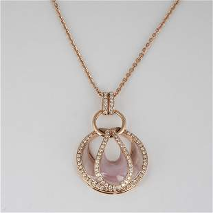 14K RoseGold Diamond & Mother of Pearl Pendant Necklace