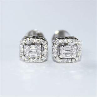14 K / 585 White Gold Diamond Earring Studs