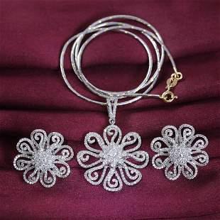 14 K White Gold Diamond Pendant with Earrings