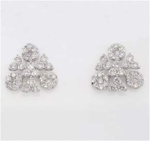 IGI Certified 18 K / 750 White Gold Diamond Earrings