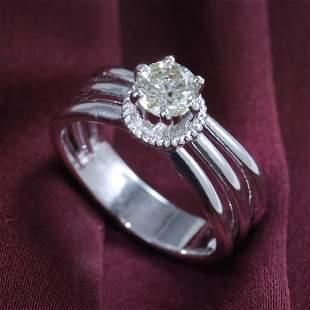 14 K / 585 White Gold Solitaire Diamond Ring