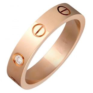 18 K / 750 Rose Gold Cartier Style Diamond Band Ring