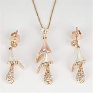 14 K Rose Gold Diamond & Mother of Pearl Pendant Set