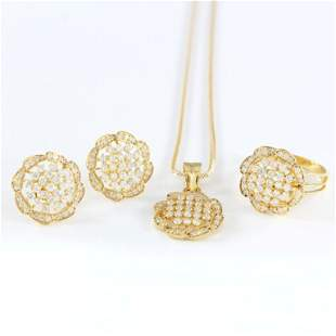 14 K Diamond Pendant Necklace with Earrings & Ring