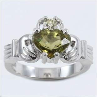 14 K White Gold Alexandrite (IGI Cert) & Diamond Ring