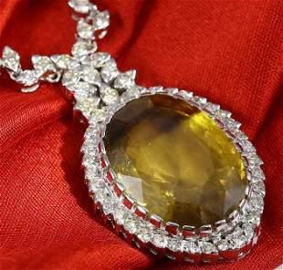 GIA Cert 32.26 ct. Large Alexandrite & Diamond Necklace