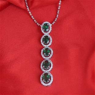 14 K  White Gold Tsavorite Diamond & Pendant Necklace