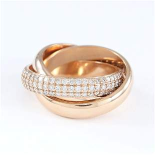 18 K / 750 Rose Gold CARTIER Style TRINITY Diamond Ring