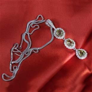 14 K White Gold Alexandrites & Diamond Pendant Necklace