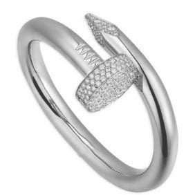 14 K White Gold CARTIER Style Nail head Diamond Ring