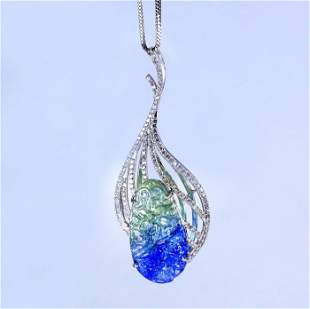14 K White Gold Tanzanite (IGI Cert.) & Diamond Pendant