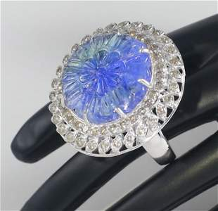 14 K White Gold Tanzanite (IGI Cert.) & Diamond Ring