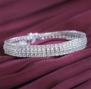 14 K / 585 White Gold 3 Line Diamond Tennis Bracelet
