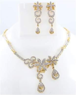 14 K Yellow Gold Diamond Necklace & Chandelier Earrings