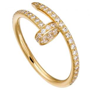 14 K Yellow Gold Cartier Style Nail head Diamond Ring