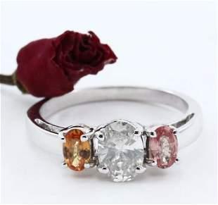 14 K White Gold Padparadscha Sapphire & Diamond Ring