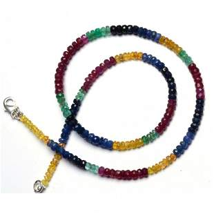 85 ct. Natural Emerald, Ruby & Sapphire Beads Necklace